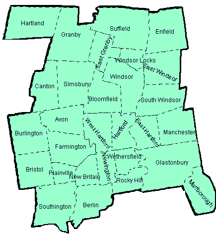 map of Hartford County, Connecticut linking town for news and updates