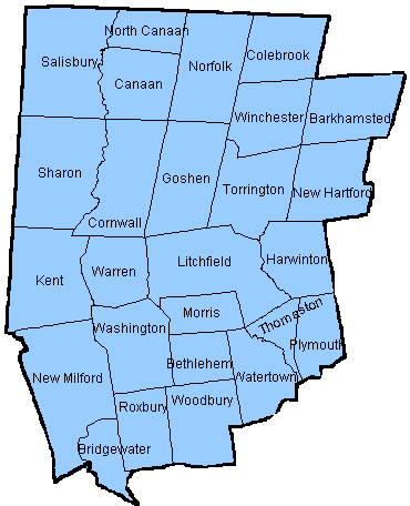 map of Litchfield county, Connecticut linking town for news and updates