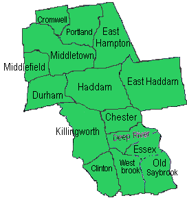 map of Middlesex county, Connecticut linking town for news and updates