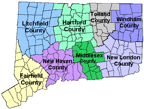 map of the state of Connecticut by counties linking to each county's section for news and updates pertaining to towns and schools in that county